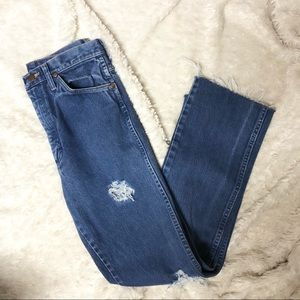 Wrangler High Rise Distressed Mom Jeans